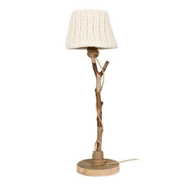 houten tafellamp wit gebreide kap
