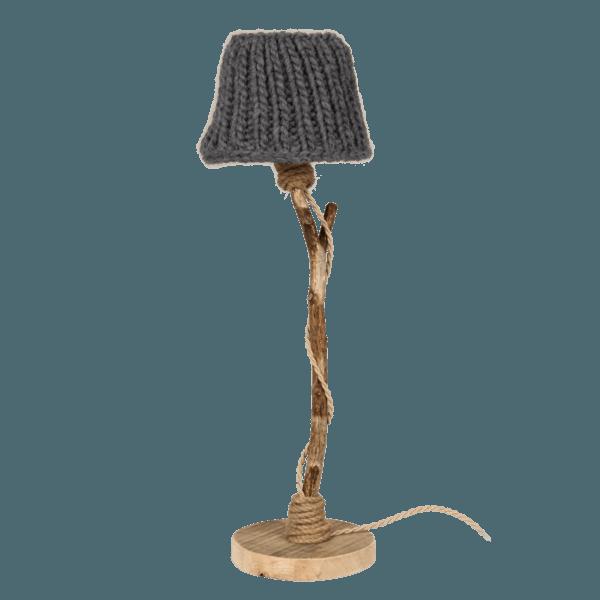 Houten tafellamp antraciet