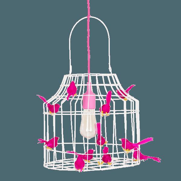 hanglamp vogeltjes fuchsia