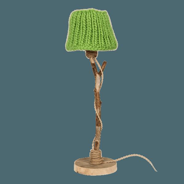 houten tafellamp appelgroen gebreide kap