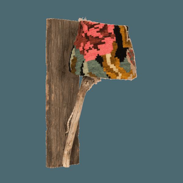 houten wandlamp met kelimrozen lampenkap