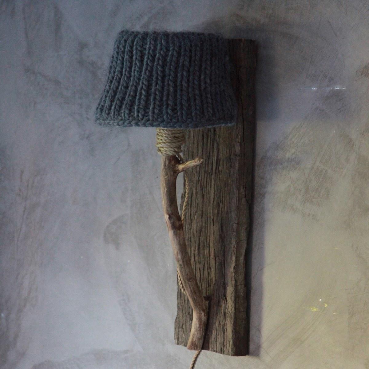 Houten wandlamp grijs medium dutch dilight for Stoere wandlamp