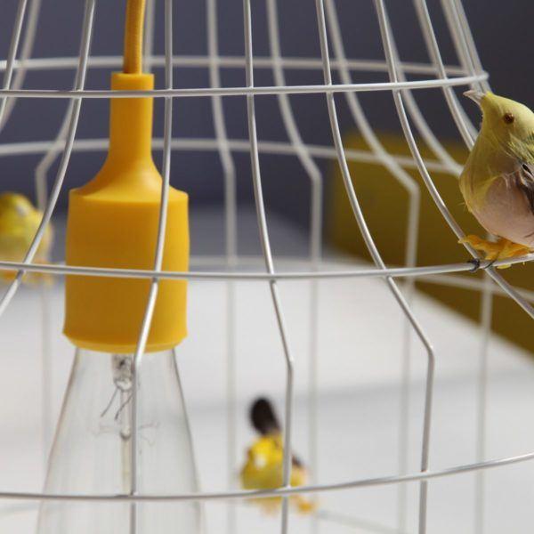vogelkooi hanglamp gele vogeltjes
