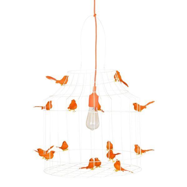 vogelkooi hanglamp oranje