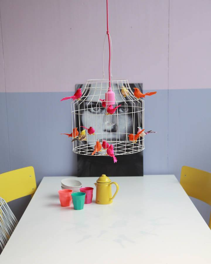hanglamp eettafel neon vogeltjes
