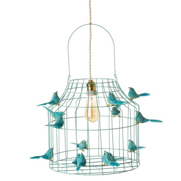 hanglamp vogels turquoise