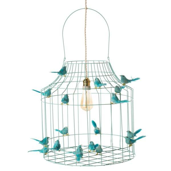 vogelkooi hanglamp turquoise