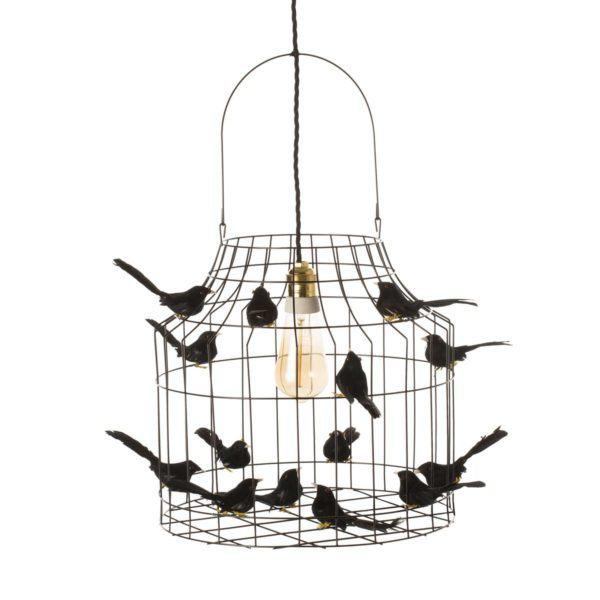 zwarte hanglamp vogeltjes