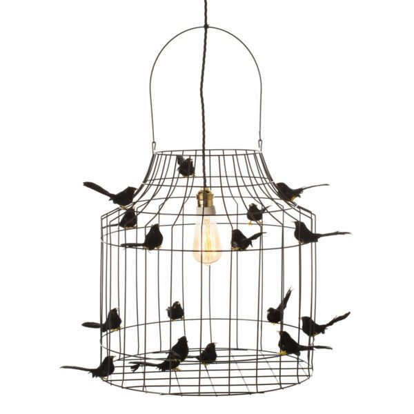 zwarte vogelkooi hanglamp