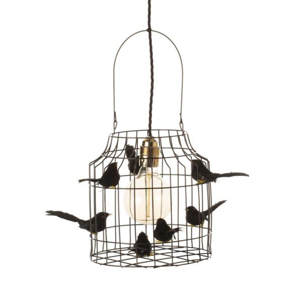 hanglamp met vogeltjes zwart