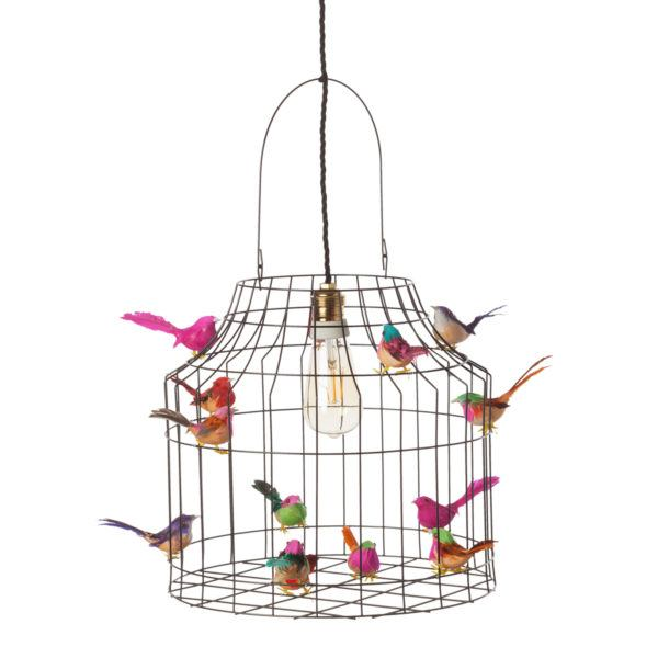 hanglamp zwart vogeltjes