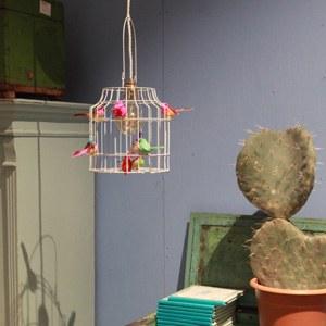 hanglamp wit met vogeltjes