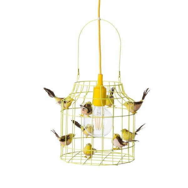 gele hanglamp vogels