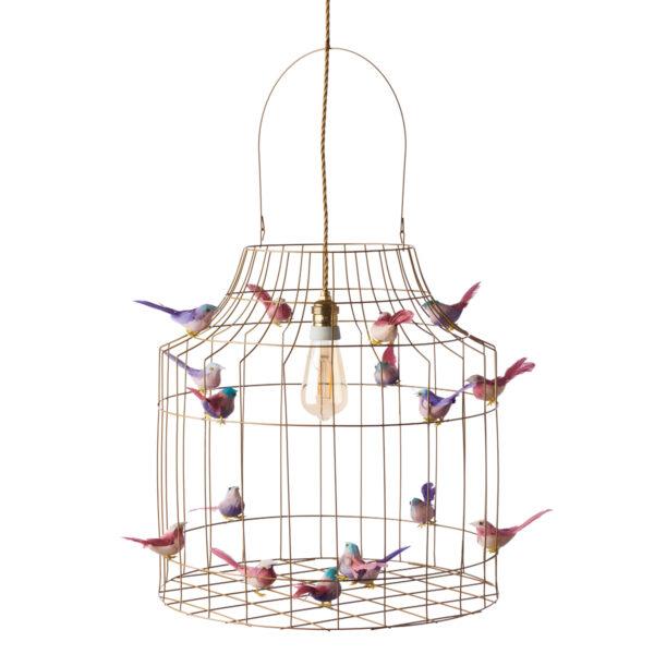 goudkleurige hanglamp pastelroze vogeltjes